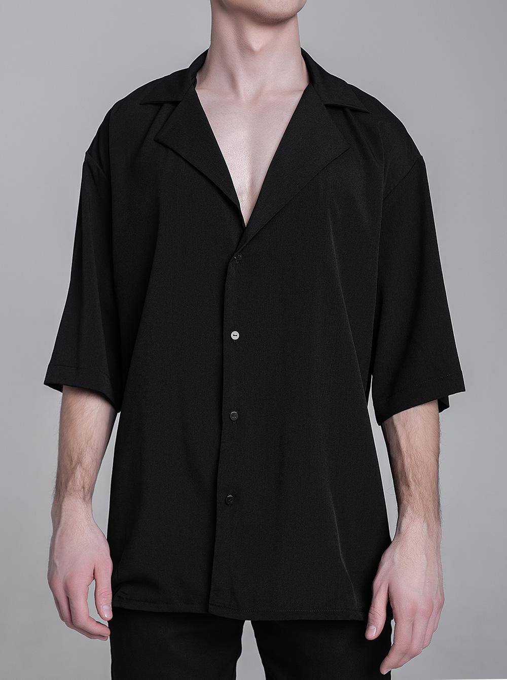 RS012 рубашка черная шифон