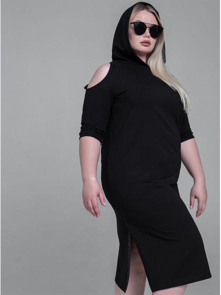 """Платье женское трикотажное с капюшоном """"ONE"""""""